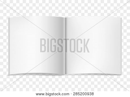 White Vector Realistic Square Opened Book Or Journal Mock Up. Blank Open Pages Of Sketchbook Or Note