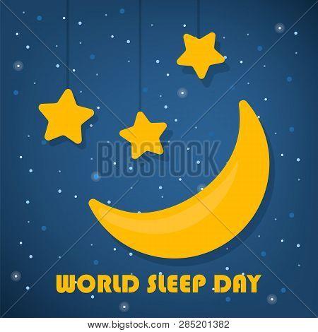 World Sleep Day Concept. Good Night. Star And Moon Shape In The Sky. Night And Dream. Midnight Slumb