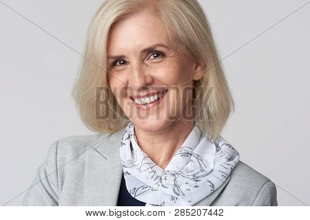Female Manager Isolated On Grey Background