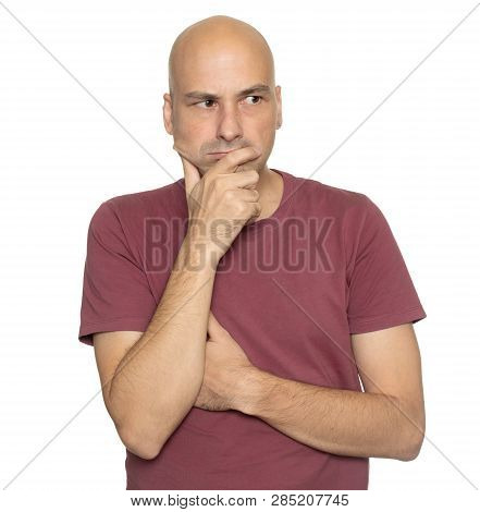 Serious Bald Man Thinking Looking Aside