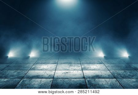 Background Of Empty Room, Street. Concrete Floor, Paving Slabs. Neon Light, Smoke, Smog