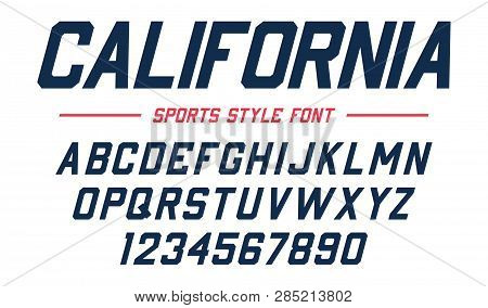 Classic College Font. Vintage Sport Sans Serif, Beveled Font In American Style For Football, Soccer,