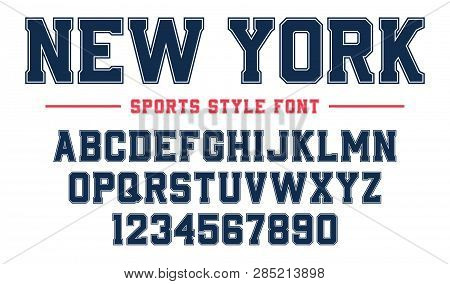 Classic College Font. Vintage Sport Serif Font In American Style For Football, Soccer, Baseball And