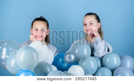 Sisters Organize Home Party. Having Fun Concept. Balloon Theme Party. Girls Best Friends Near Air Ba