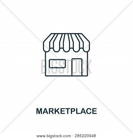 Marketplace Outline Icon. Thin Line Element From Crowdfunding Icons Collection. Ui And Ux. Pixel Per