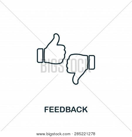 Feedback Outline Icon. Thin Line Element From Crowdfunding Icons Collection. Ui And Ux. Pixel Perfec