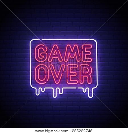 Game Popup. Game Over Neon Sign, Bright Signboard, Light Banner. Game Over Logo Neon, Emblem. Vector