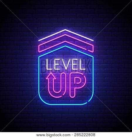 Game Popup. Level Up Neon Sign, Bright Signboard, Light Banner. Game Logo Neon, Emblem. Vector Illus