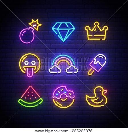 Pop Art Icons Set. Pop Art Neon Sign. Bright Signboard, Light Banner. Neon Isolated Icon, Emblem. Bo