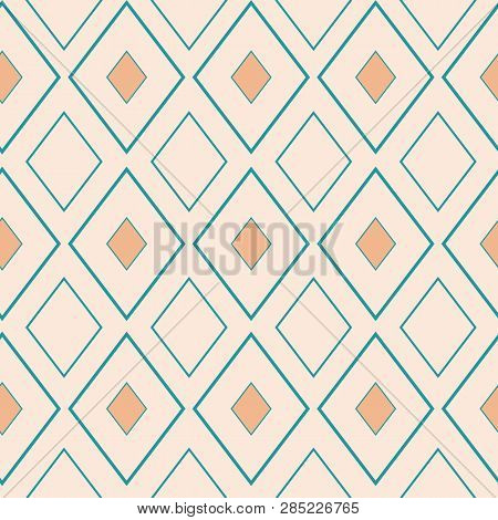 Classic Gold And Light Blue Rhombus Geometric Design. Seamless Vector Pattern On Neutral Cream Backg
