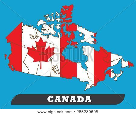 Canada Map And Canada Flag. Canada Map And Canada Flag Use For Background Drawing By Illustration