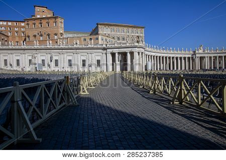 The Apostolic Palace And Colonnades In Italy