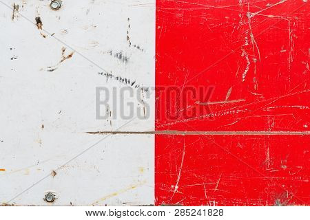 Grunge Red And White Metal Surface Texture As Abstract Background