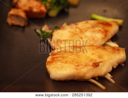 Fresh Assorted Seafood, Snow Fish, Salmon Fillet And Vegetable Teppanyaki Grill (japanese Cuisine Th