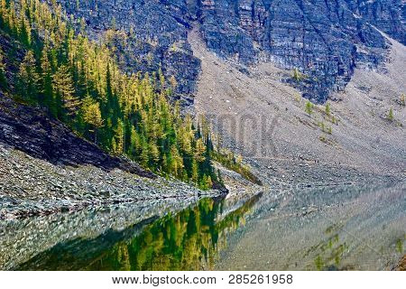 Scenic Reflections Of Autumn Trees In Lake Agnes