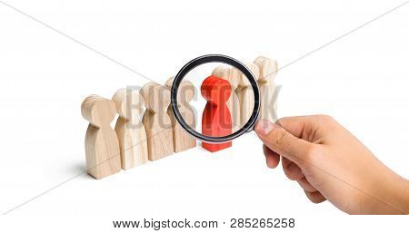 Magnifying Glass Is Looking At The Red Figure Of A Man Comes Out Of The Line Of People. Talent, Lead