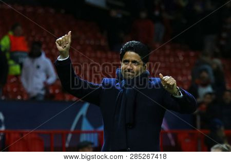 MANCHESTER, ENGLAND - FEBRUARY 12 2019: Nasser Al-Khelaifi president of PSG during the Champions League match between Manchester United and Paris Saint-Germain at Old Trafford Stadium.