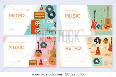 Retro Equipment Music Set. Traditional Melody Brochure Card Set. Festival Template Of Flyear, Web Ba