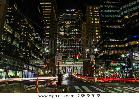 NEW YORK, NY, USA - DECEMBER 27, 2018: Beautiful evenings with street and buildings lights near Grand Central Terminal with MetLife building