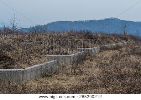 Concrete Foundation Wall In Field Of Dry Grass And Trees In Wilderness Landscape On Winter Day.