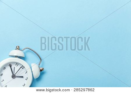 Ringing Twin Bell Vintage Classic Alarm Clock Isolated On Blue Pastel Colorful Trendy Background. Re