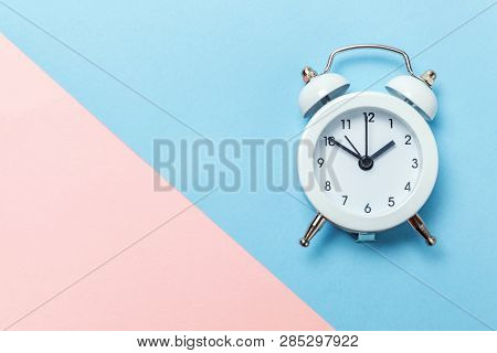 Ringing Twin Bell Vintage Classic Alarm Clock Isolated On Blue Pink Pastel Colorful Trendy Backgroun