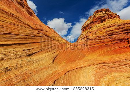 Sandstone formations in Utah, USA. Beautiful Unusual landscapes. Living coral color toning.