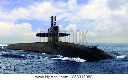 Naval Submarine On Open Blue Sea Surface