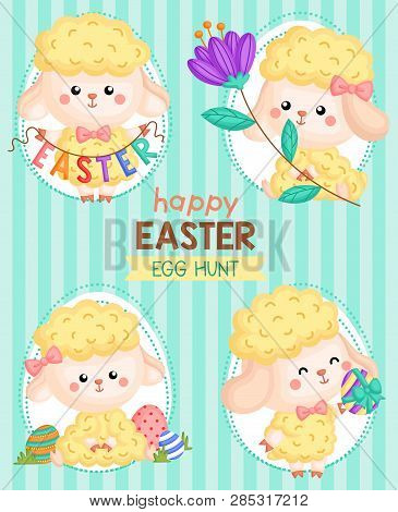 A Vector Composition Of Cute Sheep In Easter Theme And Egg Hunting For Easter Card