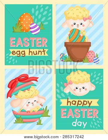 A Card Composition Of Cute Sheep Holding Easter Eggs And Inside Cracked Egg