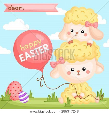 A Vector Composition Of Cute Sheep Holding Balloon And Egg Hunting For Easter Card