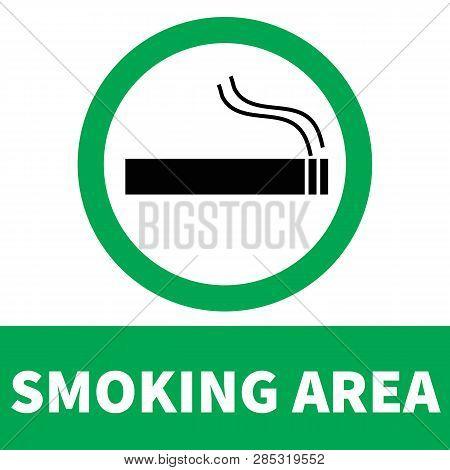 Smoking Area Icon On White Background. Flat Style. Smoke Area Icon For Your Web Site Design, Logo, A