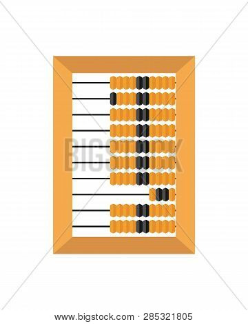 Old Wooden Abacus Isolated On A White Backgroun. Vector Illustration.