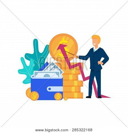 Business Man Explaing Finance Business Growth Strategy. Plan For Economy Profit. Wealth Elements. Co