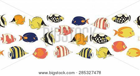 Reef Fish Seamless Vector Border. Tropical Colorful Fishes Decor. Butterflyfish, Clown Triggerfish,