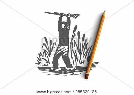 Hunting, Sneaking, Rifle, Sport, Weapon Concept. Hand Drawn Hunter Sneaks Through The Reeds Concept