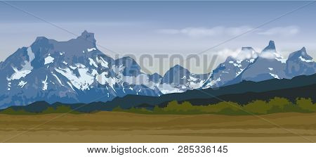 Vector Illustration Of Blue Snow Mountain Range And Peaks With Forest Valley Panorama
