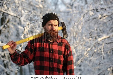 Bearded Man With A Hatchet, Forestry. Handsome Man, Hipster In Snowy Forest. Lumberjack In The Woods