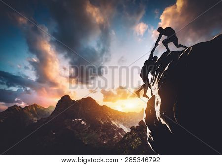 Man saving other man from falling off the cliff. Teamwork, helping people. 3D illustration.
