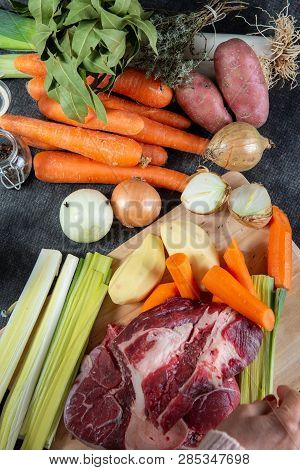 Meat And Vegetables For A Preparation Of French Pot Au Feu