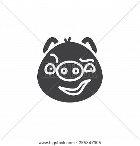 Piggy Sly Face Emoticon Vector Icon. Filled Flat Sign For Mobile Concept And Web Design. Sassy Face