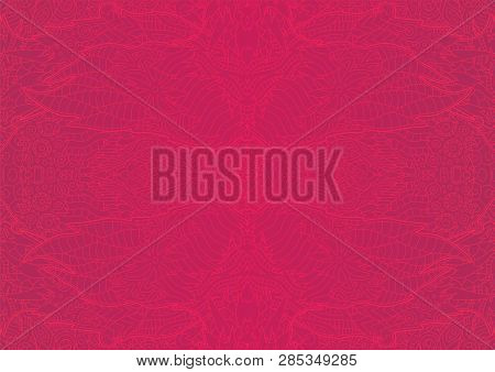 Beautiful Pink Psychodelic Abstract Linear Seamless Pattern