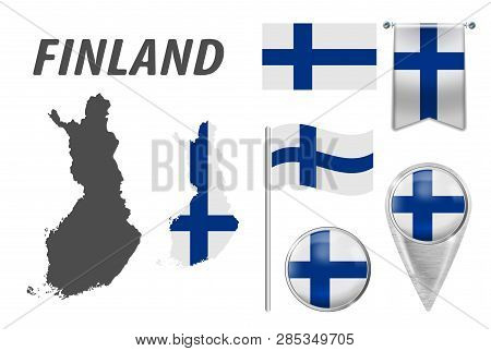 Finland. Collection Of Symbols In Colors National Flag On Various Objects Isolated On White Backgrou