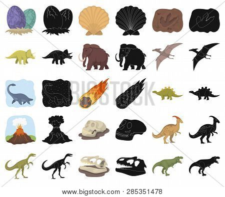 Different Dinosaurs Cartoon, Black Icons In Set Collection For Design. Prehistoric Animal Vector Sym