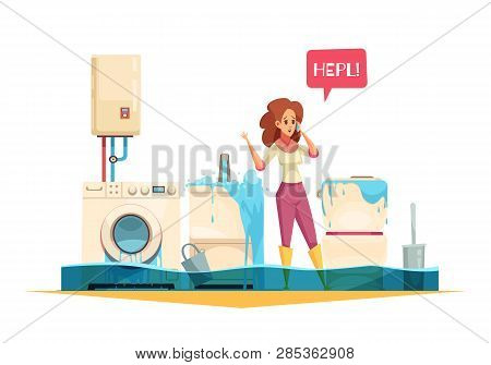 Washing Machine Flooding Sink Overflow Pipe Leaks Emergency Cartoon Composition With Woman Calling P
