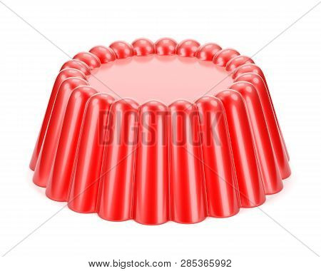 Red Glossy Fruit Jelly Dessert Isolated On White Background. 3d Illustration