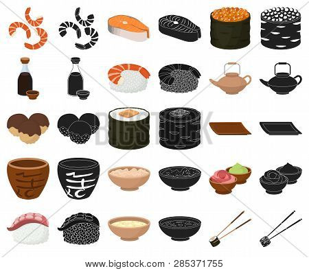 Sushi And Seasoning Cartoon, Black Icons In Set Collection For Design. Seafood Food, Accessory Vecto