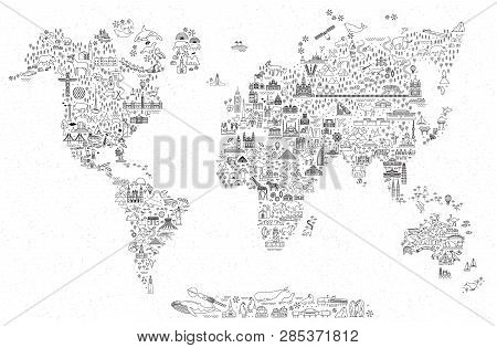 World Travel Line Icons Map. Travel Poster With Animals And Sightseeing Attractions. Inspirational V