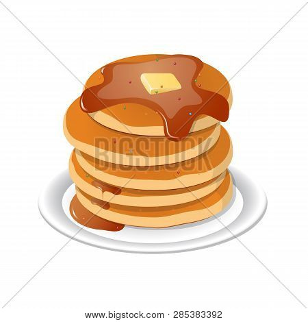 Vector Illustration. Fresh Tasty Hot Pancakes With Sweet Maple Syrup. Cartoon Icon Isolated On Backg