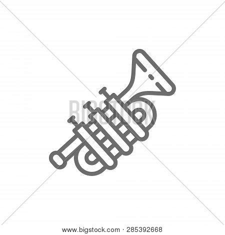 Trombone, Trumpet, Tuba Line Icon. Isolated On White Background